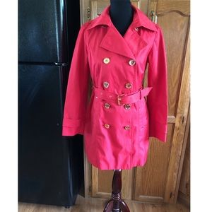 Michael Kors Red Double Breasted Trench Coat